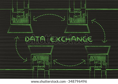 data exchange concept: hands typing on laptops with arrows for communication and networking - stock photo