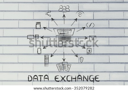 data exchange: laptop transferring files to different devices, storage or sharing services - stock photo