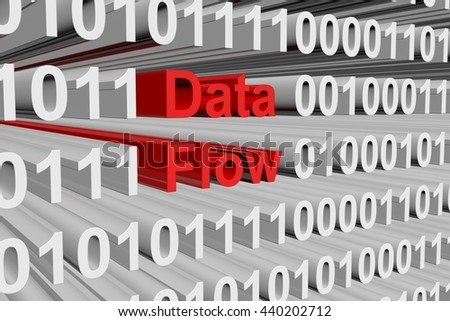 data flow in the form of binary code, 3D illustration