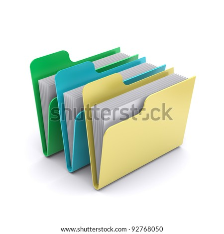 Data folders on a white background. 3d rendered image