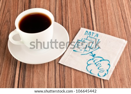 Data in the cloud on a napkin and cup of coffee - stock photo