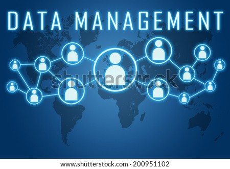 Data Management concept on blue background with world map and social icons. - stock photo