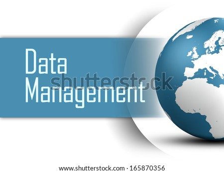 Data Management concept with globe on white background - stock photo