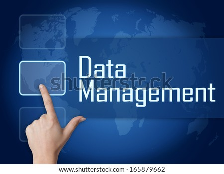 Data Management concept with interface and world map on blue background - stock photo
