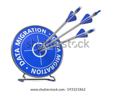 Data Migration Concept. Three Arrows Hit in Blue Target. - stock photo