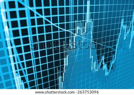 Data on live computer screen. Display of quotes pricing graph visualization. Stock market graph and bar chart price display. Abstract financial background trade colorful  - stock photo