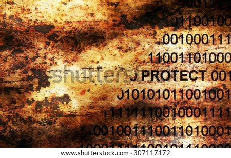 Data protect grunge concept - stock photo