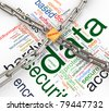 Data protected by chain and padlock on background of  'data protection wordcloud'. - stock vector