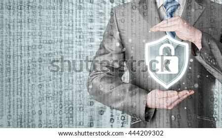 Data protection and insurance. Concept of business security, safety of information from virus, crime and attack. Internet secure system. Matrix background. - stock photo