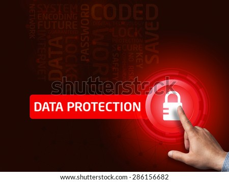 Data protection. Businessman presses a button on the virtual screen. Business, technology, internet and networking concept. - stock photo