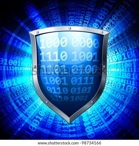 Data protection. Metal shield with binary codes. - stock photo