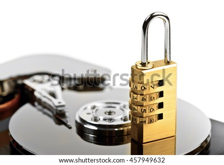 data protection on Hard drive with lock at white - stock photo