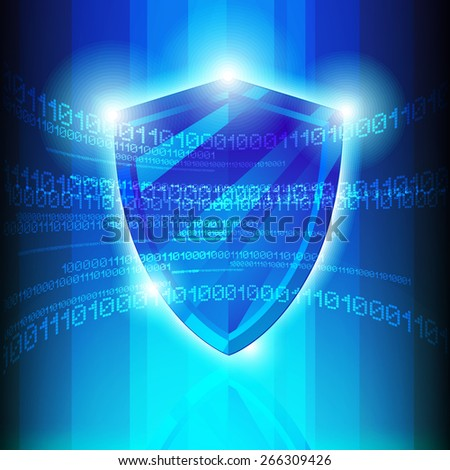 Data Protection Tech Shield  Illustration - stock photo
