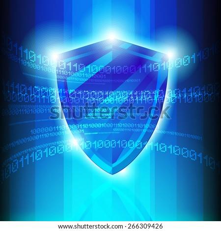 Data Protection Tech Shield  Illustration - stock photo