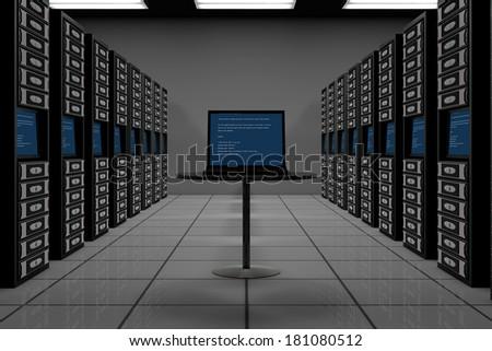 Data room full of servers - stock photo