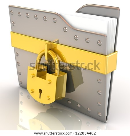 Data security concept. 3D file and lock. - stock photo