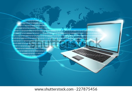 Data security concept - laptop and key - stock photo