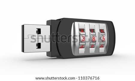 Data security concept. USB flash drive with combination lock. 3D image on white - stock photo