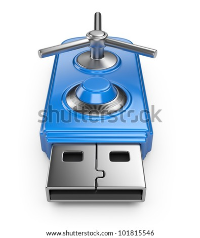 Data security concept. USB flash drive with lock. 3D isolated on white - stock photo