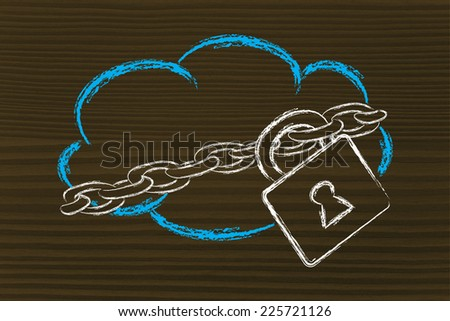 data security on cloud computing, cloud and security lock and chain - stock photo