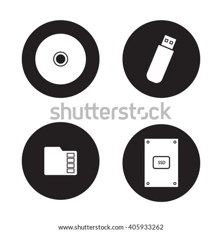 Data storage devices black icons set. External ssd hard drive, portable usb stick, micro sd mobile memory card, compact disc. Digital gadgets. White silhouettes illustrations. Raster logo concepts - stock photo