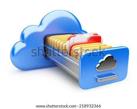data storage on servers in cloud. 3D image isolated on white - stock photo
