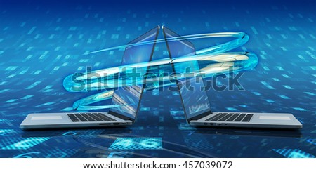 Data sync process, computer connection and communication technology concept, modern laptops on blue background with digital data, 3d illustration - stock photo
