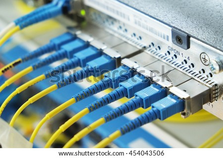 Data transfer by optical fiber information technology.with selective focus.with selective focus   - stock photo