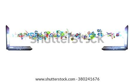 Data transferring concept. Exchange of data between computers - stock photo
