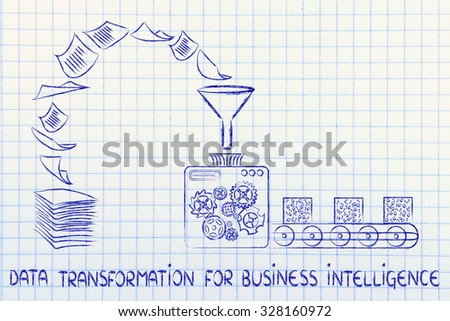data transformation for business intelligence: factory machines turning unorganized paper into processed data - stock photo