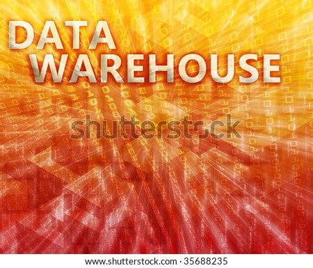 Data warehouse abstract, computer technology concept illustration - stock photo