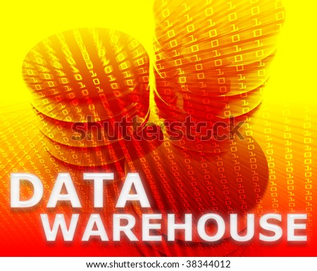 Data warehouse abstract, computer technology information concept illustration - stock photo