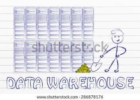 data warehouse and mining: metaphor of man extracting gold nuggets in a server room, symbol of valuable data