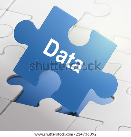 data word on blue puzzle pieces background - stock photo