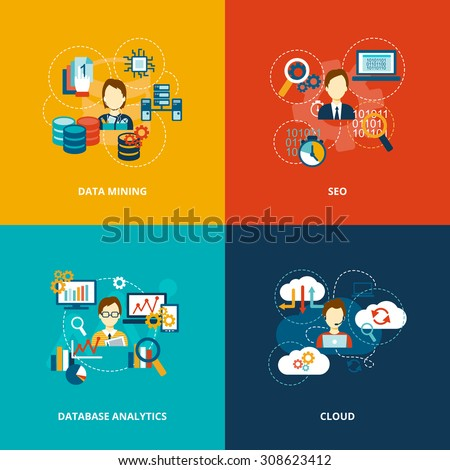 Database analytics icons flat set with data mining seo cloud isolated  illustration. - stock photo