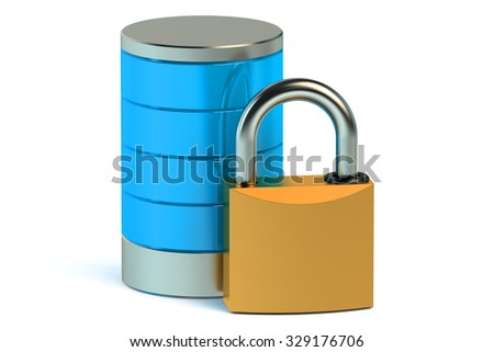 Database and computer data security concept isolated on white background