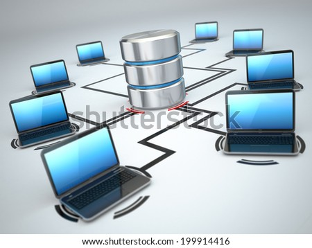 Database and laptops. Networking concept. Three-dimensional image - stock photo