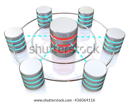 Database and networking concept: connected metal hard disk icons isolated on white background. 3d illustration - stock photo
