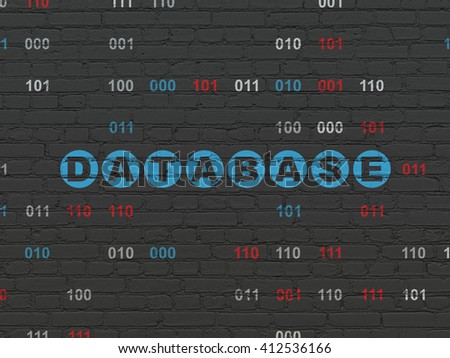 Database concept: Painted blue text Database on Black Brick wall background with Binary Code