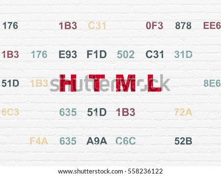 Database concept: Painted red text Html on White Brick wall background with Hexadecimal Code
