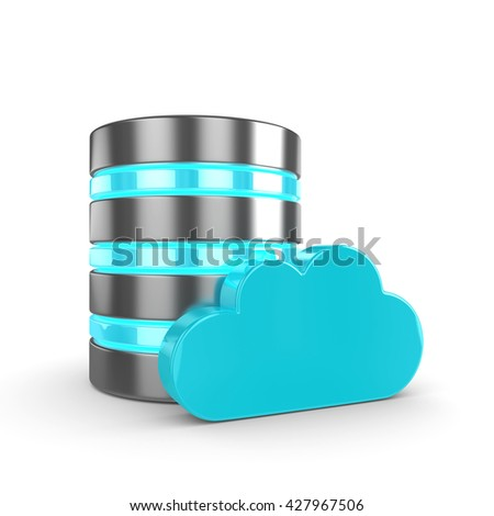 Database 3d with cloud isolated on white background