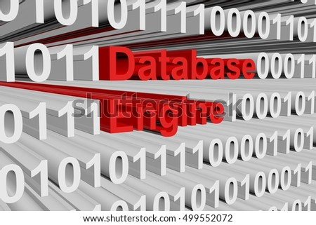 database engine in the form of binary code, 3D illustration