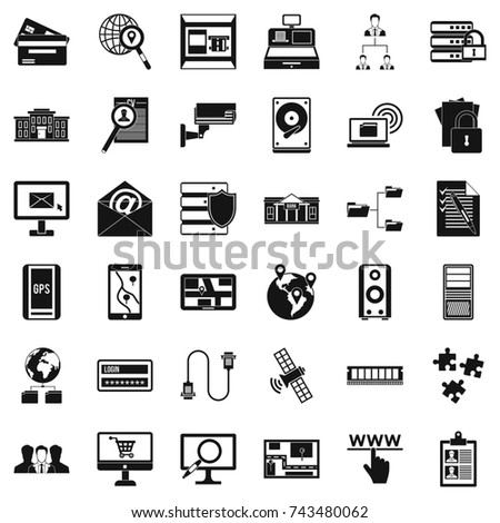 Database protection icons set. Simple style of 36 database protection  icons for web isolated on white background