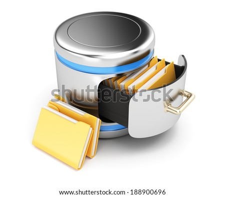Database storage concept isolated on white background. 3d rendering illustration - stock photo