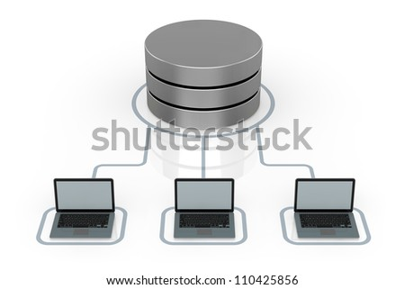 database symbol connected to several electronic devices (3d render) - stock photo