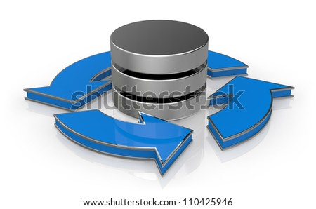 database symbol with arrows around it (3d render) - stock photo