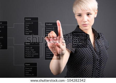 Database Table - technical concept, business intelligence - stock photo