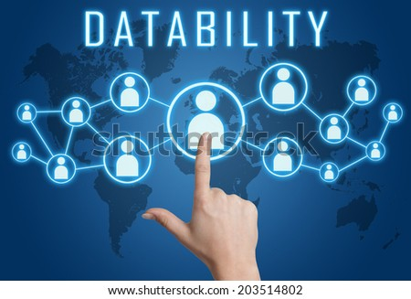 Datability concept with hand pressing social icons on blue world map background. - stock photo