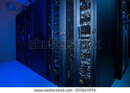 Datacenter internet servers in climate controlled room - stock photo