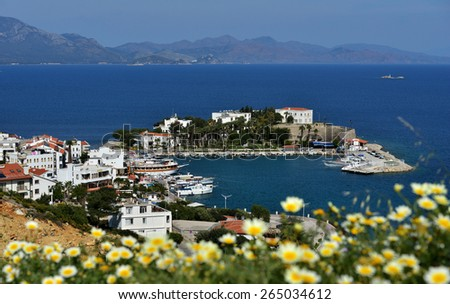 DATCA, TURKEY - APRIL 4, 2014: View to Mediterranean coast of Datca peninsula. The coastline of Datca runs about 235 km and consists of 52 big and small, deep and crystal blue coves - stock photo